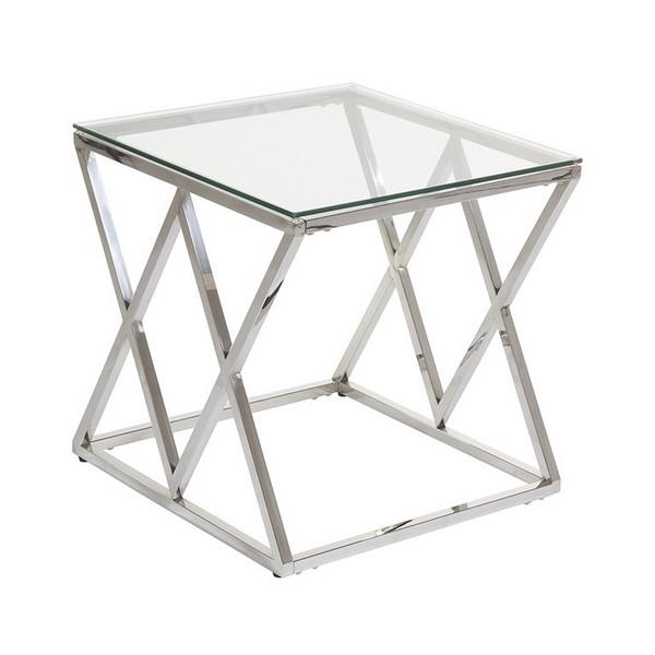Mesa Auxiliar Acero inoxidable Vidrio (55 x 55 x 55 cm)
