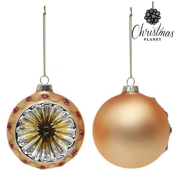 Bolas de Navidad Christmas Planet 1730 8 cm (2 uds) Cristal Dorado