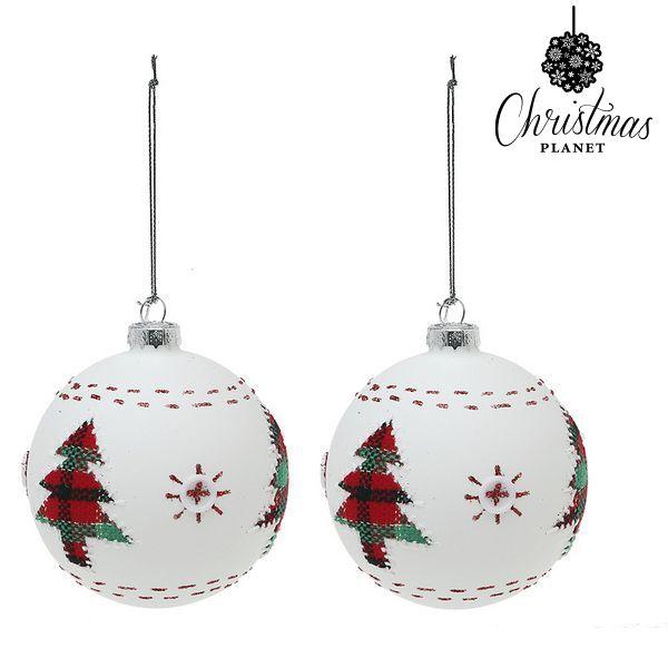 Bolas de Navidad Christmas Planet 1860 8 cm (2 uds) Cristal Blanco