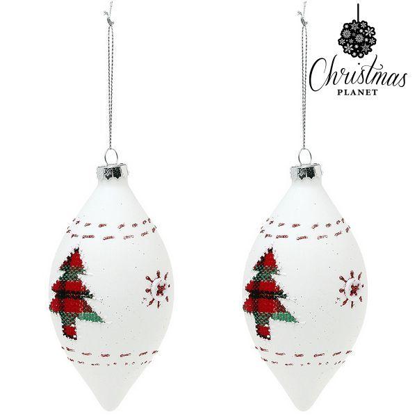 Bolas de Navidad Christmas Planet 1990 (2 uds) Cristal Blanco