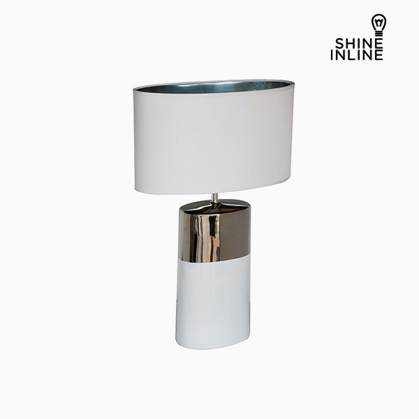 Lámpara de Mesa Plata Blanco (44 x 22 x 68 cm) by Shine Inline