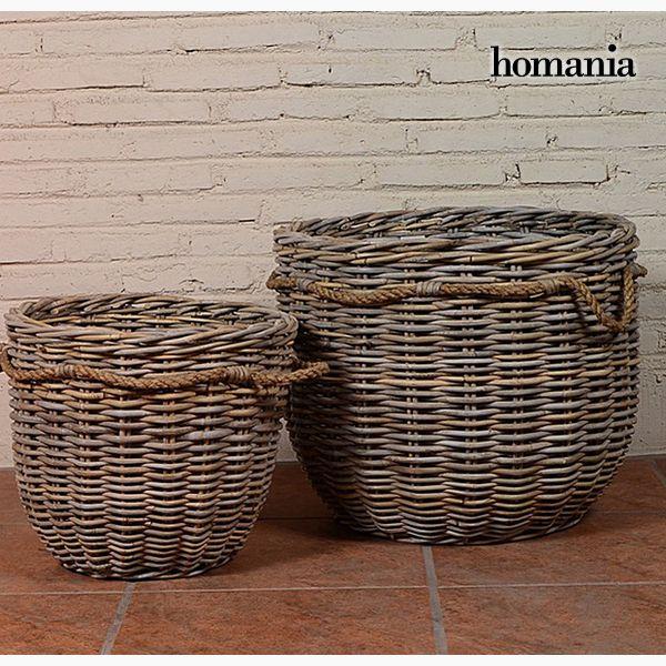 Juego de Cestos (2 pcs) Ratán (54 x 54 x 46 cm) by Homania