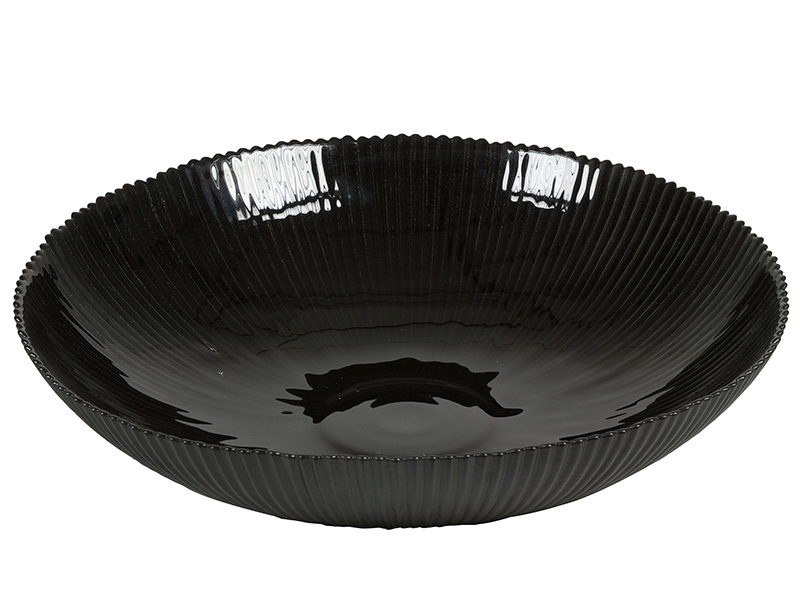 Centro de Mesa de Vidrio Reciclado Negro – Colección Crystal Colours Deco