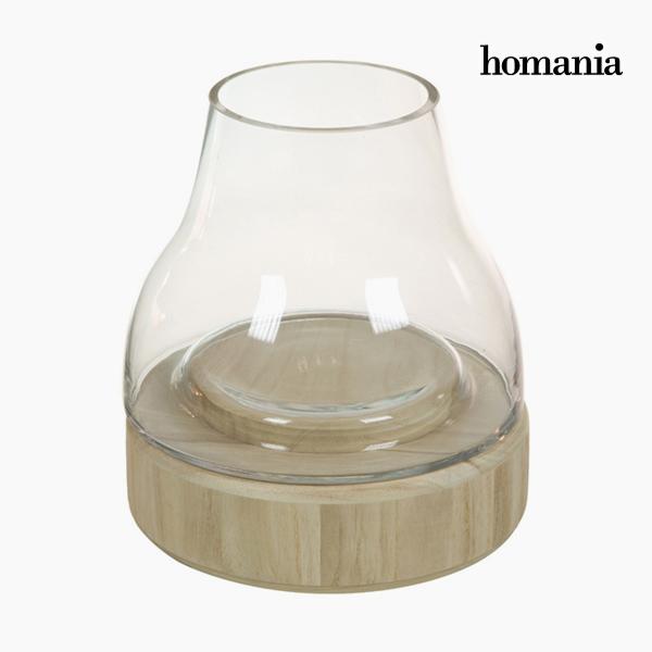 Portavelas Vidrio Madera – Colección Pure Crystal Deco by Homania