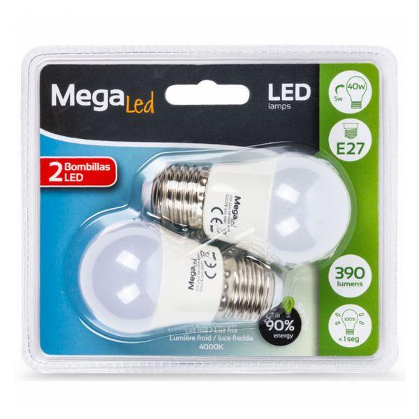 Bombilla LED Esférica MegaLed 220454 E27 4000K 5W Luz blanca (2 pcs)