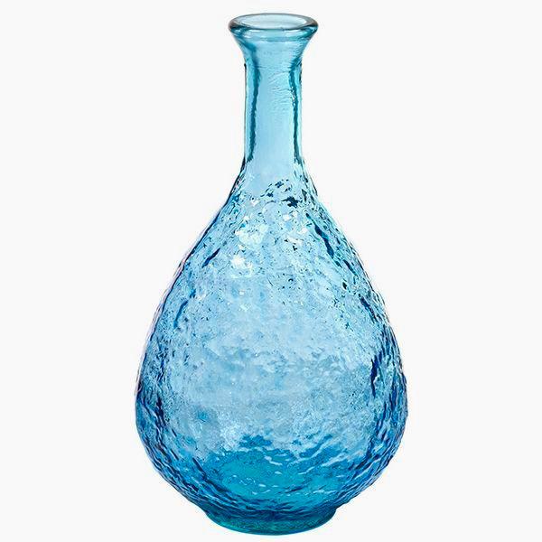 Jarrón de Vidrio Reciclado (21 x 21 x 41 cm) Azul