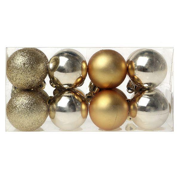 Bolas de Navidad Christmas Planet 6967 4 cm (16 uds) Dorado