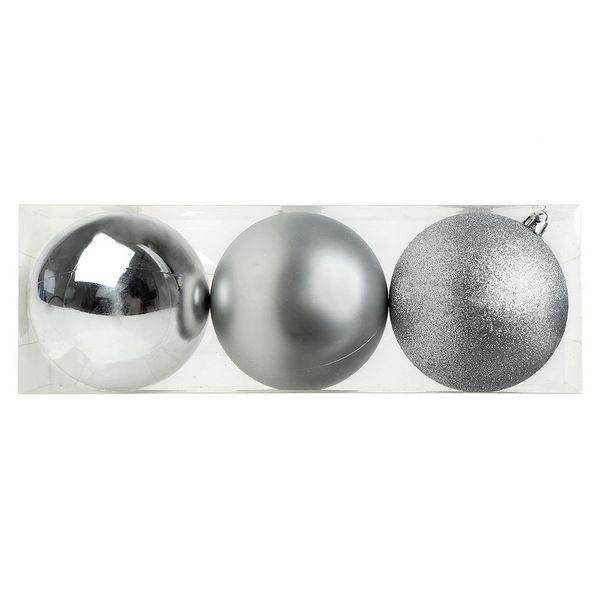Bolas de Navidad Christmas Planet 7254 10 cm (3 uds) Plateado