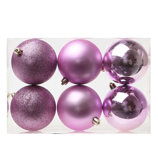 Bolas de Navidad Christmas Planet 8008 8 cm (6 uds) Morado