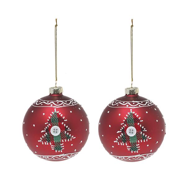 Bolas de Navidad Christmas Planet 1785 8 cm (2 uds) Cristal Rojo