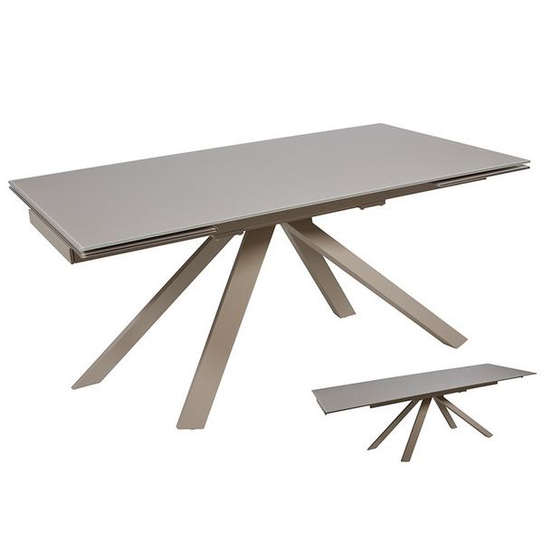 Mesa de Comedor Cristal Metal Gris (160 x 90 x 76 cm)