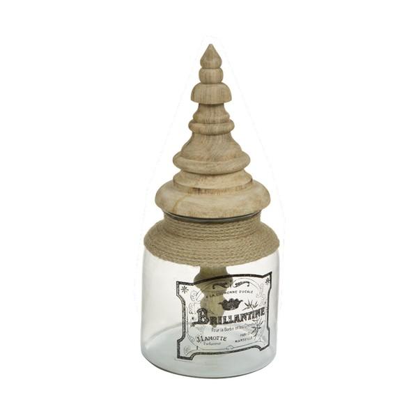 Bote de Cristal Brillantine Madera de mango (17 X 17 x 38 cm)